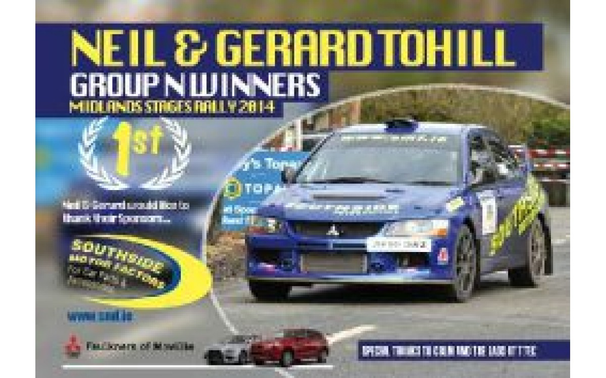 NEIL AND GERARD TOHILL GROUP N WINNERS MIDLANDS STAGES RALLY 2014